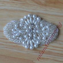 wholesale bride new bridal crystal rhinestone pearl beaded appliques patches accessories  raj29(China (Mainland))