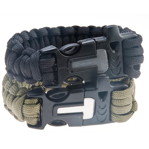 Outdoor Men's Military Emergency Survival Bracelet Paracord Rope Parachute Cord Wristband Flint Fire Starter Scraper Whistle Kit
