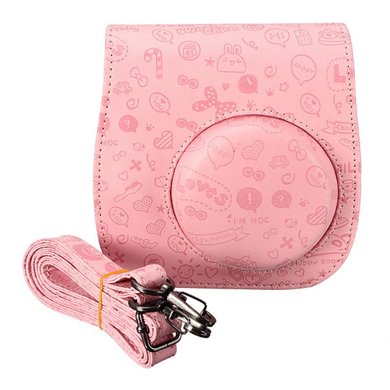 High Quality 3 Color Mini Cute Cartoon Soft PU Leather Camera Case Hand Neck Shoulder Bag For Fuji Fujifilm Intax Mini 8 8S Bag(China (Mainland))