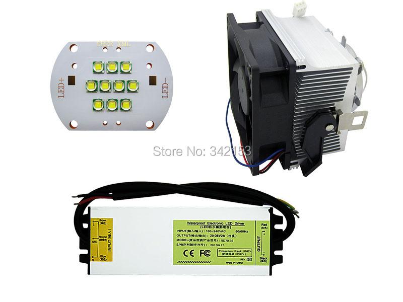 DIY Led Lamp Light Kit Cree XMK Led + Led Driver + Led Heatsink With 45MM Led Lens(China (Mainland))