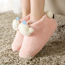New Winter Lovers Cotton Slippers Little Whale Plush Warm Indoor Shoes TPR Rubber Non-slip Soft Bottom Shoes Home Floor Slippers