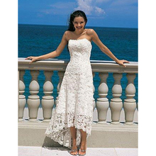 Buy High Low Wedding Dresses Pregnant Dress Strapless line Lace Beach Holiday Honeymoon Front Short Back Long x011 for $165.00 in AliExpress store