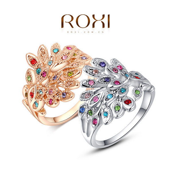 New 2015 Hot Selling Luxury Phoenix Rings For Women 24K Gold Plated Gradient Austrian Crystal Jewelry Free Shipping 2010009290(China (Mainland))
