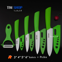 "Top quality Ceramic knife set, ULTRA SHARP 3""4""5"" 6 inch knife set kit +Peeler kitchen knife set at Tim Shop(China (Mainland))"