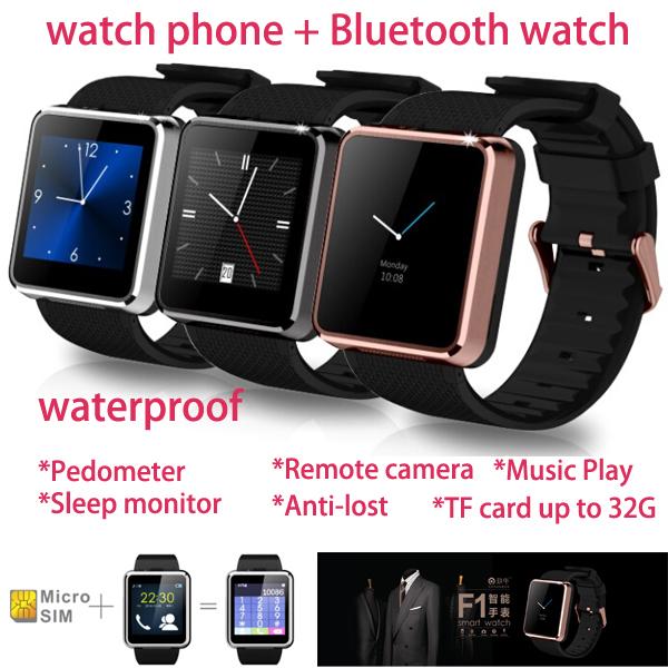 Waterproof Smart Watch F1 Sync Call SMS Facebook Twitter Pedometer Sleep Monitor 1.3MP Camera MP3 MP4 Player Anti lost Men watch(China (Mainland))