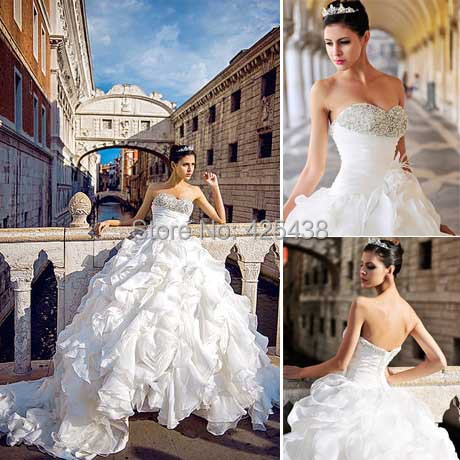 Vintage Sweetheart Crystal Bead Backless Ruffle Bottom Organza Cathedral Train Cinderella Ball Gown Wedding Dress(China (Mainland))