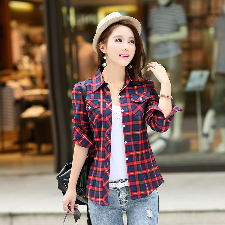 2015 New Casual Button Down Lapel Neck font b Plaids b font Checks Flannel Shirts Women