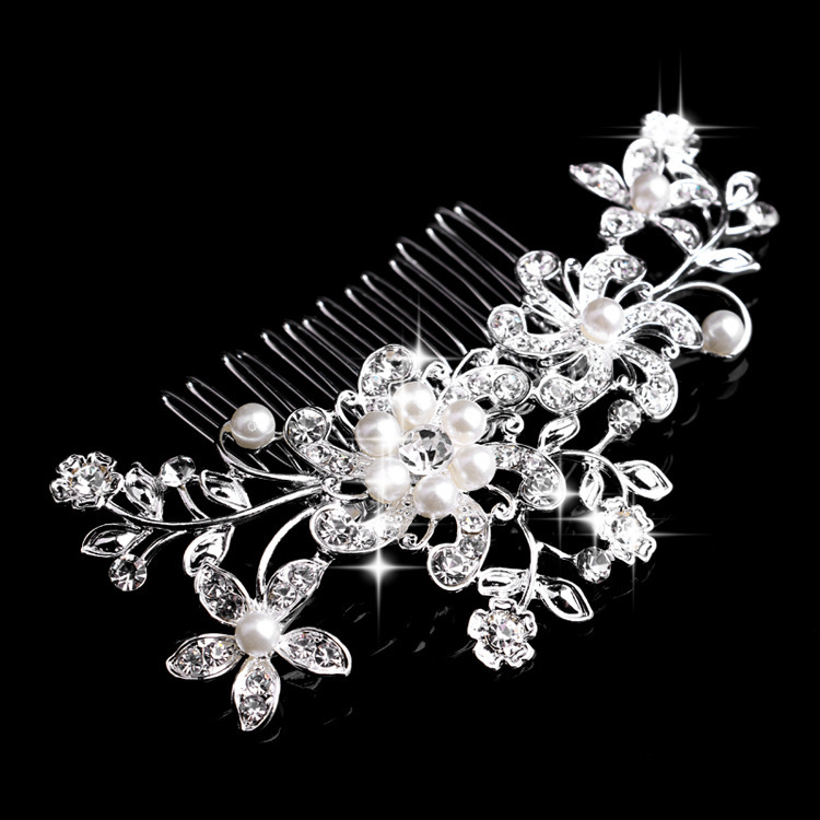 Manufacturers Wholesale Jewelry Bridal Accessories Hair Combs With Rhinestone Women Girls Cheap Pearl Headpieces Hot Selling(China (Mainland))