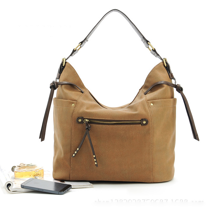 women leather handbags ladies vintage rivet shoulder bags female retro big capacity hobos woman tote zipper bag 2015 designer - MS HEDY Women's Bag store