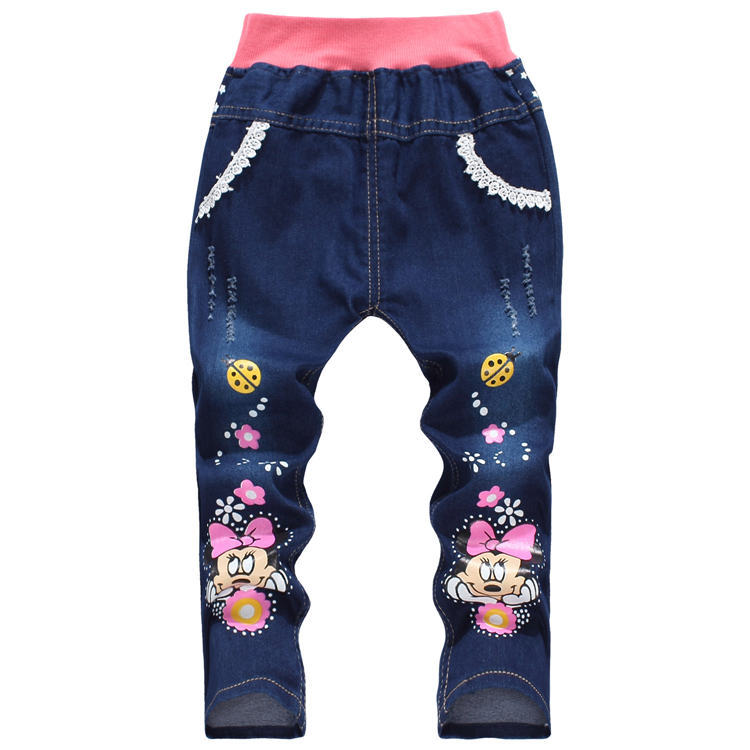 Free shipping 2015 New baby wear children jeans fashion girls cartoon jeans baby denim jeans Autumn kids jeans Retail(China (Mainland))