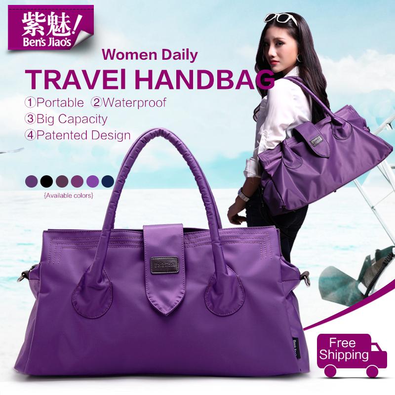 BensJiaos famous brand designer women large travel tote bags ladies fashion purple handbags waterproof nylon big shoulder bag(China (Mainland))