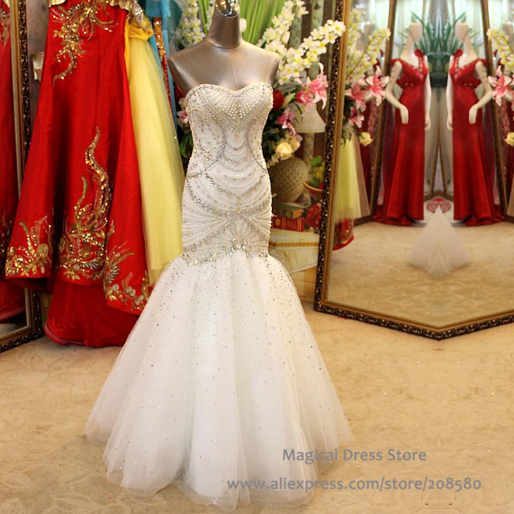 Luxury pearl crystal rhinestone wedding dress mermaid for Big bling wedding dresses