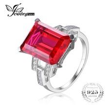 JewelryPalace Роскошные Изумрудный Cut 9.2ct Создания Красный Рубин Коктейль Кольцо Стерлингового Серебра 925 для Женщин Моды Кольца(China (Mainland))