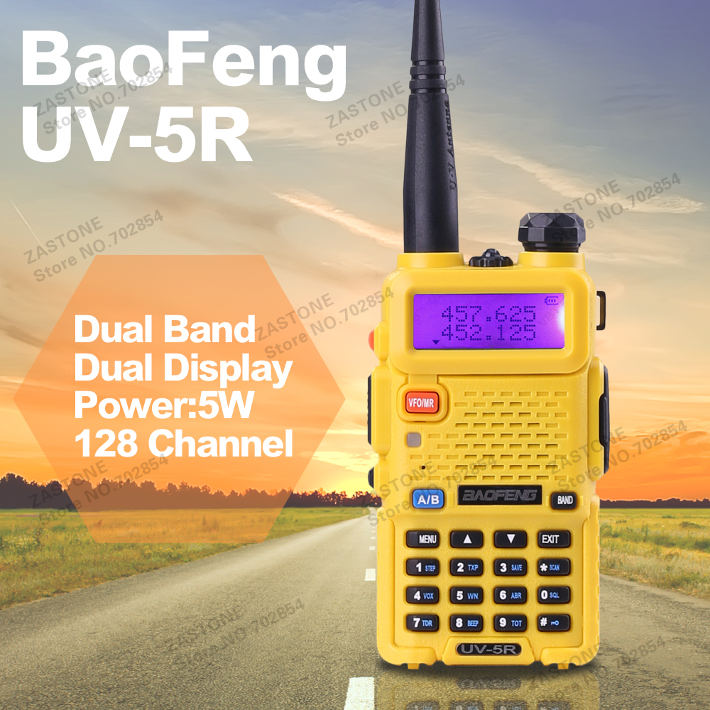 BAOFENG UV-5R Walkie Talkie Dual Band Radio Yellow 136-174Mhz & 400-520Mhz Baofeng UV5R handheld Two Way Radio(China (Mainland))