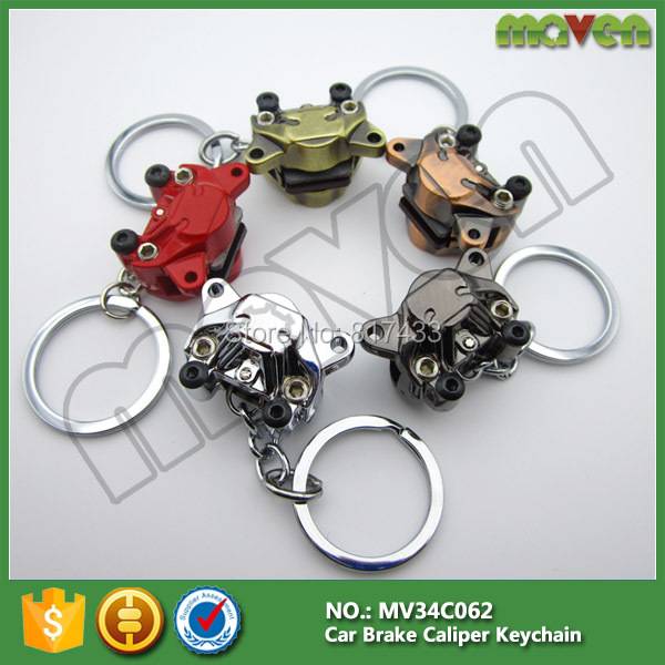 20pcs 6colors Zinc alloy motorcycle Car modification Disc brake Piston calipers keychain keyring key chain ring(China (Mainland))