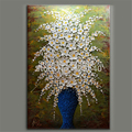 Hand Painted Palette Knife White Flowers Oil Painting Wall Art Canvas Picture Modern Abstract Home Decor