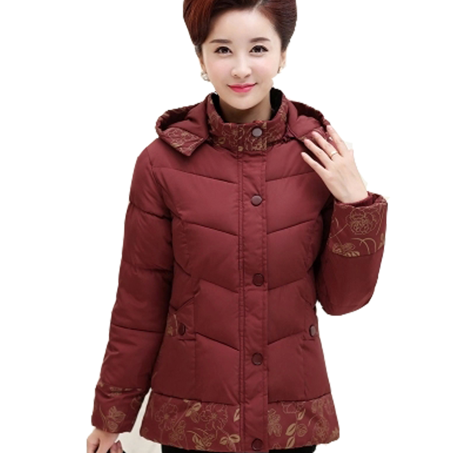 Women Ladies Winter Coat Full Sleeve Mandarin Collar Thick Button Outerwear Warm Print Jacket Single Breasted Large Size Fashion