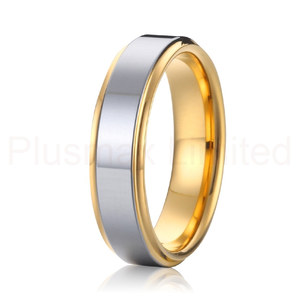 big USA size 7 to 15 high quality 5mm Mens and womens 18k yellow gold plated and silver health pure titanium wedding band rings