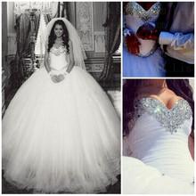Principessa ball gown bling cristalli di lusso abito da sposa bianco abito da sposa 2015 abito abito da sposa vestido de novia(China (Mainland))