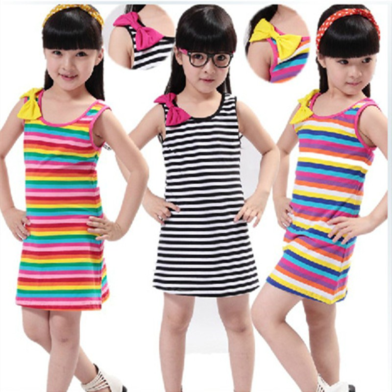 Female child one-piece dress 2014 children's clothing summer sleeveless stripe basic shirt princess - Jacky Sports official store