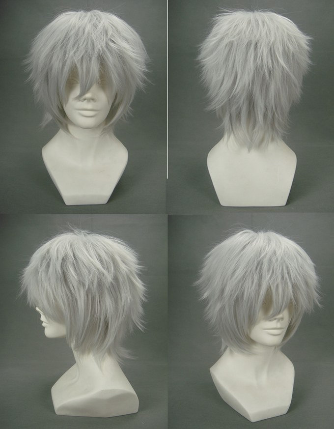 Fashion Shaggy Short Silver Grey Wigs Anime Future city No.6 Shion Cosplay party Wig Synthetic Short Wigs Synthetic Hair Wig(China (Mainland))