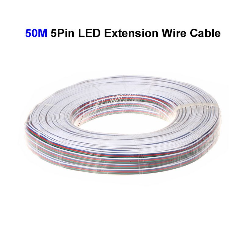 ( 5 reel/lot ) 50M 22AWG 5 Pin RGBW LED Extension Connector Wire Cord For LED Lighting Connector Cable(China (Mainland))