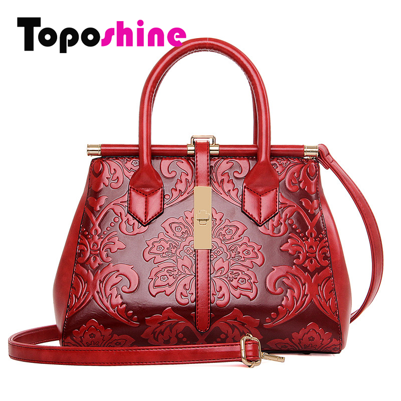 Toposhine Embossed Beautiful Flowers Vintage Fashion Women Bag Chinese Style PU Leather Women Handbag Women Shoulder Bag 1083