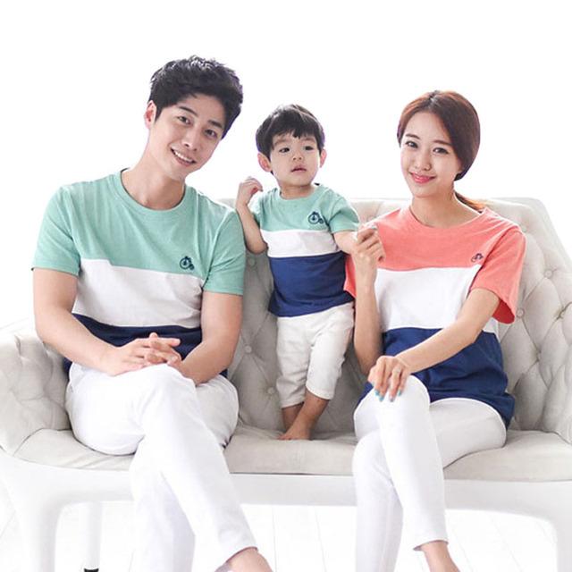 Семья одежда наряды мода полосатый лето с коротким рукавом соответствующие семья ...