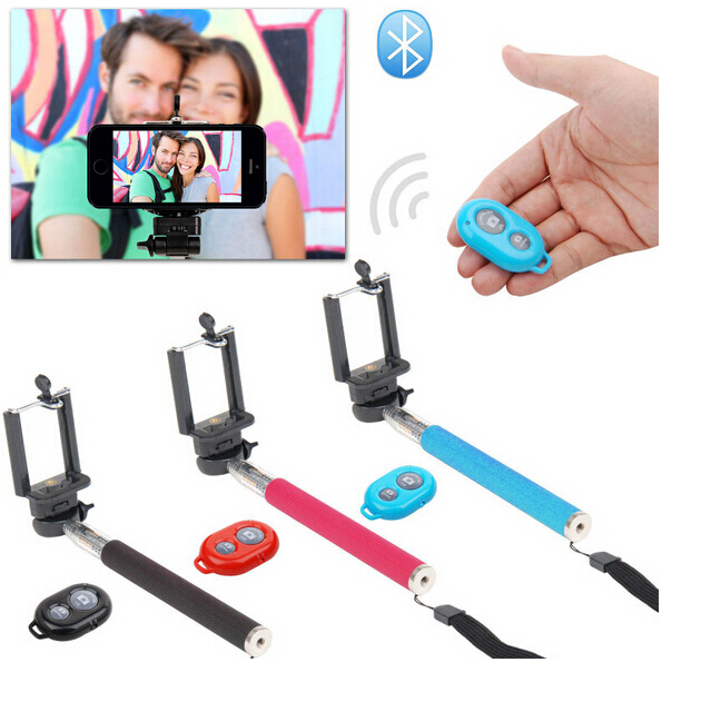 1Pcs/Lot Extendable Palo Gopro Selfie Stick Mono pod Z07-1+Clip Holder+Bluetooth Self-Timer Shutter Remote for IOS Android Phone(China (Mainland))