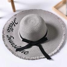 التطريز قبعة صيفية من القش النساء واسعة حافة الشمس حماية قبعة للشاطئ 2019 قابل للتعديل مرن طوي قبعات للحماية من الشمس للسيدات النساء(China)