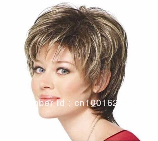 women wigs short curly Brown mixed color lady hair wigs synthe Free Shipping