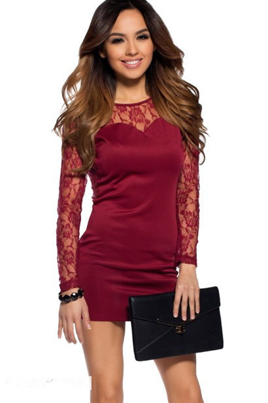wholesale 2016 New Dress Red wine Long Sleeve Lace Stretch tight Cocktail party Bandage dress (L1140)(China (Mainland))