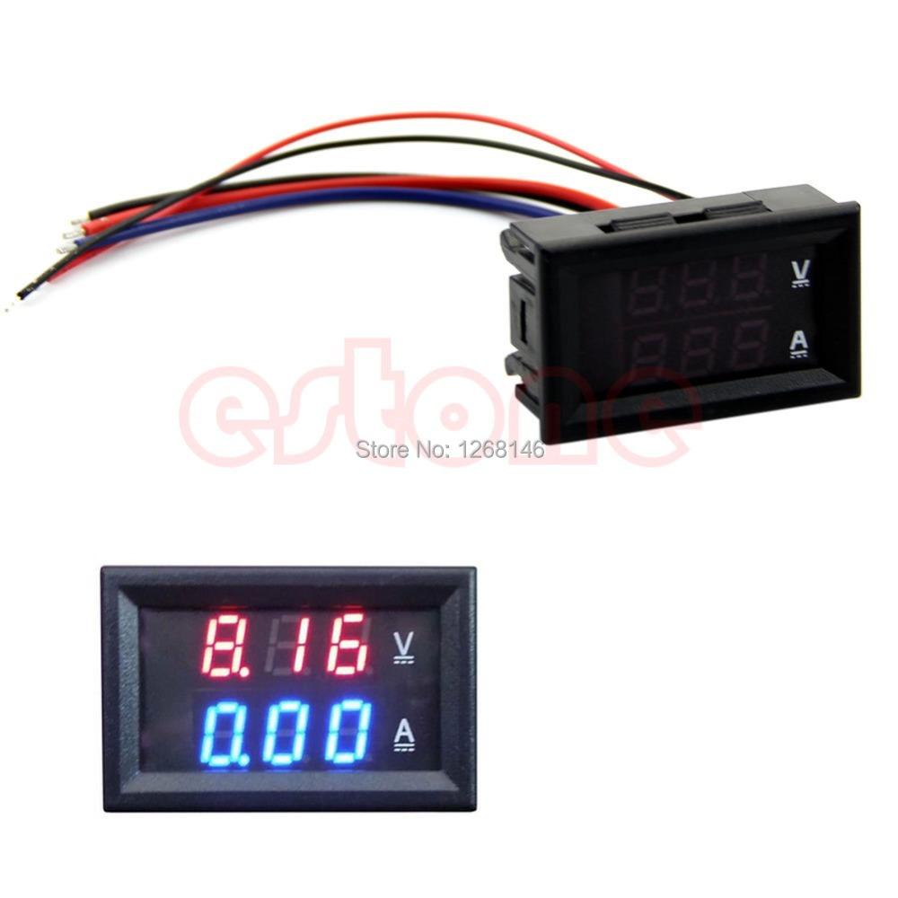 S111 Free Shipping DC 100V 10A Voltmeter Ammeter Blue Red LED Amp Dual Digital Volt Meter
