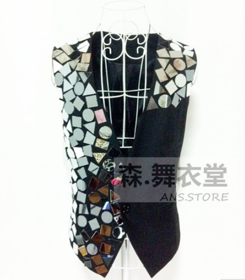 2014 new male costume suit bodysuit Male ds mirror irregular suit  free shippingОдежда и ак�е��уары<br><br><br>Aliexpress