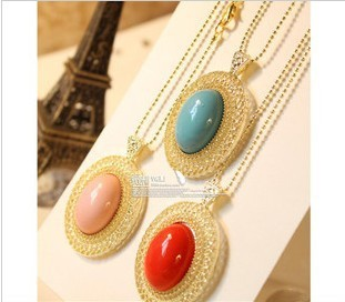 2013 accessories oval cutout necklace female long design lovers necklace