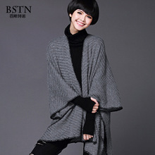 High quality–2016 female Fashion M-long  cape V collor  fashion cardigan solid color plus size sweater outerwear  all-match