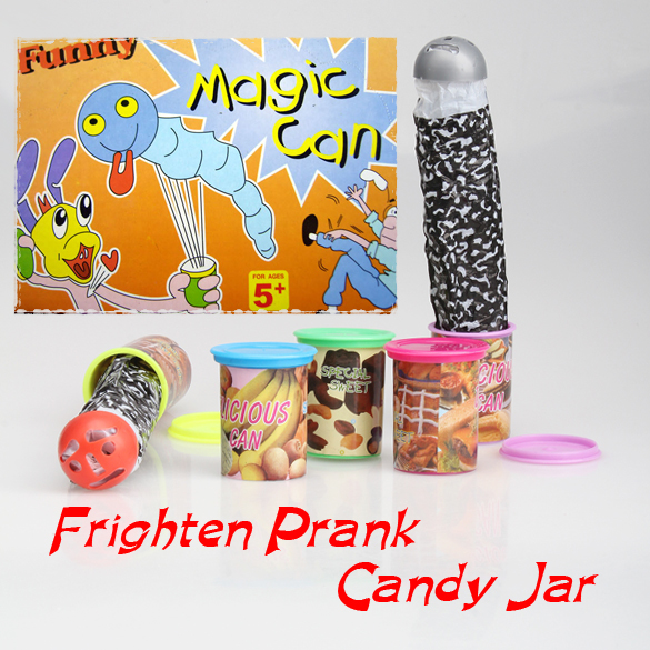Funny Toy Trick Frighten Candy Jar Jump Out With Voice Strange Jar(China (Mainland))