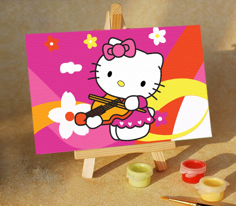 Diy digital oil painting child cartoon 10 15 kitty music brief version wholesale