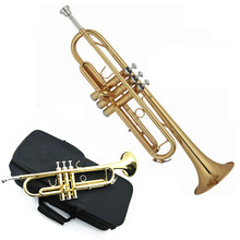 2015 Hot Brand New Professional High Grade Beginner Trumpet Electrophoresis Gold B Tone Playing Musical Instrument with Gift Box(China (Mainland))