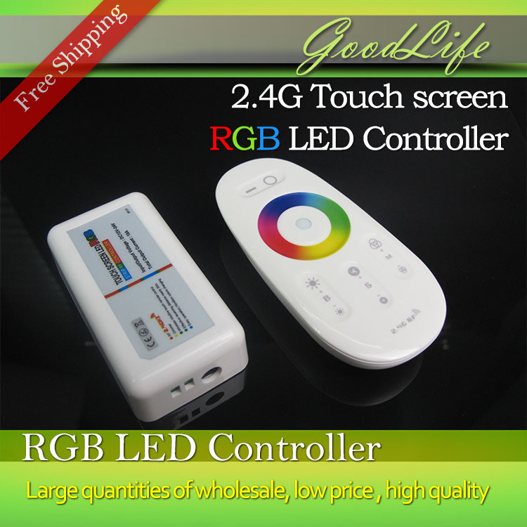 2.4G Wireless Touch screen RGB led controller DC12-24A 18A RF remote control for led strip/bulb/downlight,Free Shipping(China (Mainland))