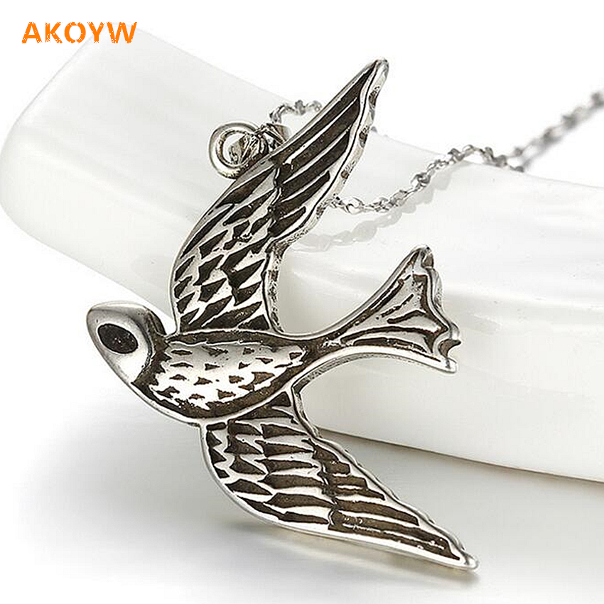 High quality Thai silver pendant necklace black swallow large new retro fashion Ms. silver jewelry (no necklace)(China (Mainland))