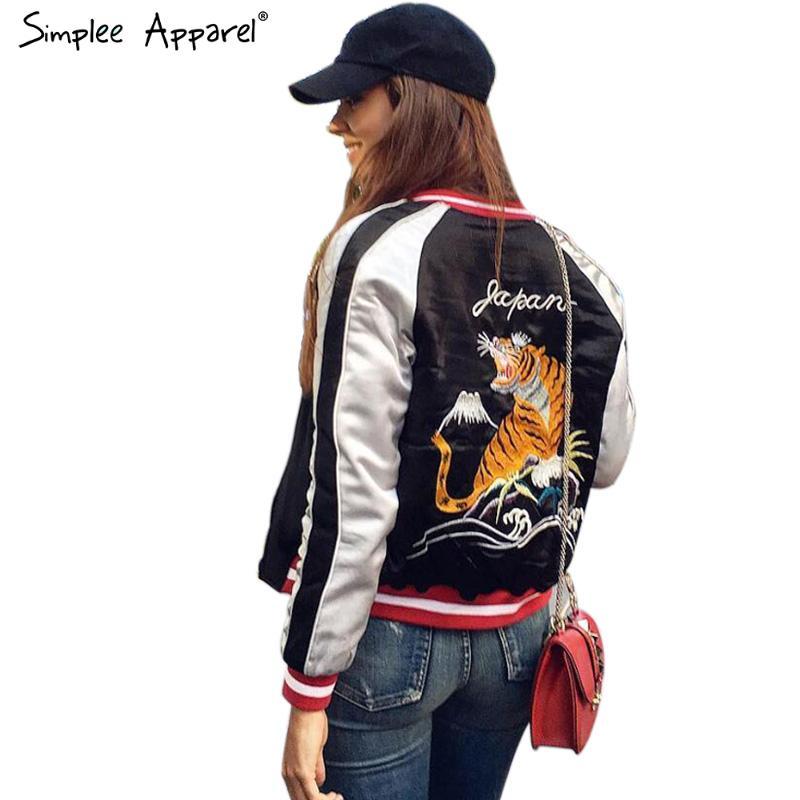Simplee Apparel Satin embroidery bomber jacket women Black blue tiger eagle souvenir jacket coat Casaul baseball jacket sukajan(China (Mainland))
