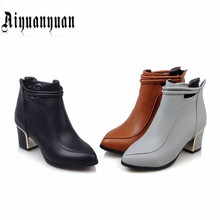 2017 Classics shoes style lady ankle boots EUR Size 40 41 42 43 44 45 46 47 48 pointed toe design PU leather pumps - LUKU CO. Store store