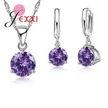 Canndy Farben 925 Sterling Silber Hochzeit Elegante Schmuck Sets Kristall Anhänger Kragen Halskette Ohrringe(China)