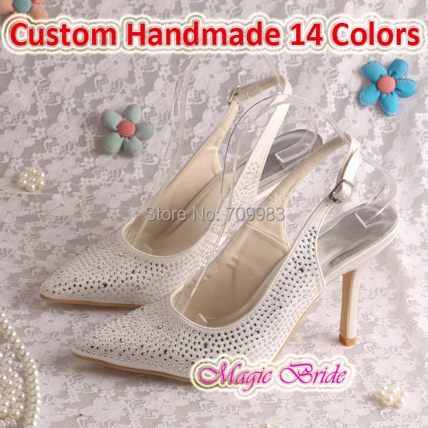 Magic Bride High Heel Women Party Wear Shoes Wedding Pointed Toe Crystal Free Shipping(China (Mainland))