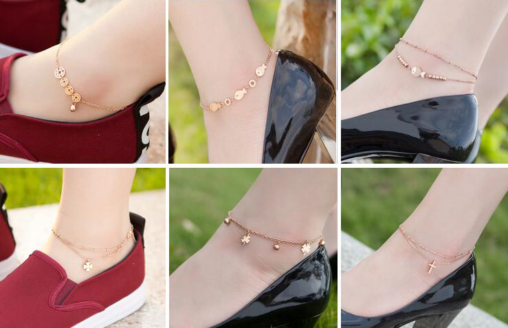 Lots 2 Pcs Horse Fox Cross Flower Butterfly Metal Anklet Ankle Bell Bracelet Foot Anklets Foot Chain Gold Beach Summer Jewellry(China (Mainland))