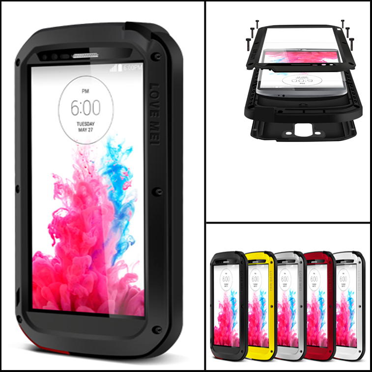 G3 Waterproof Case Aluminum + Silicon For LG G3 Gorilla Glass Touchscreen Phone Cover(China (Mainland))