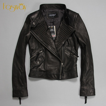Factory Women's Genuine Leather Jacket For Women Goat Skin Fashion Black Thin Rivets Bomber Motorcycle Coat Female Jaqueta ZH178(China (Mainland))