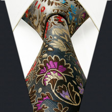 Floral Pattern Multicolor Mens Tie Necktie 100% Silk New Jacquard Woven Blue Fashions Mens Tie Casual Dress Wedding Men Neck Tie