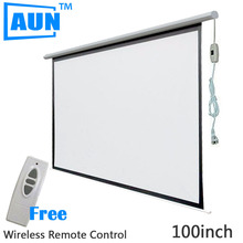 AUN 100 inch 16:9 Motorized Screen for Projector Electric Projector Screen Free Wireless Remote Control and Hook DDM10(China (Mainland))